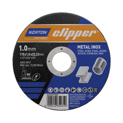 Norton Clipper Flat Metal Cutting Disc 115 x 1 x 22.23mm