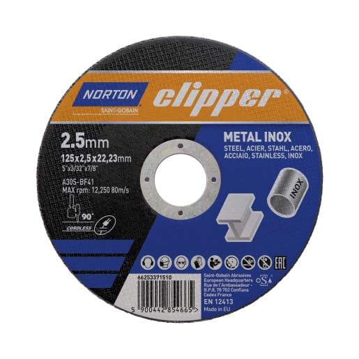 Norton Clipper Flat Metal Cutting Disc 125 x 2.5 x 22.23mm