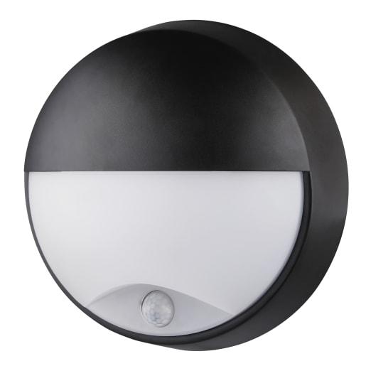 Luceco Oval Round Bulkhead Pir IP54 10W 215mm Dia Black / White Trim