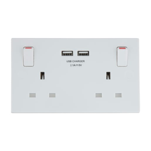 BG Electrical Double 13A Switched Socket Outlet With USB Charger White