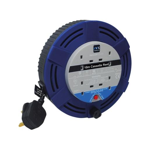 Masterplug 10A 4 Socket Medium Cassette Reel Cable 10m Blue