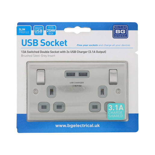 BG Electrical Steel 13A 2 Gang Switch Socket USB Grey