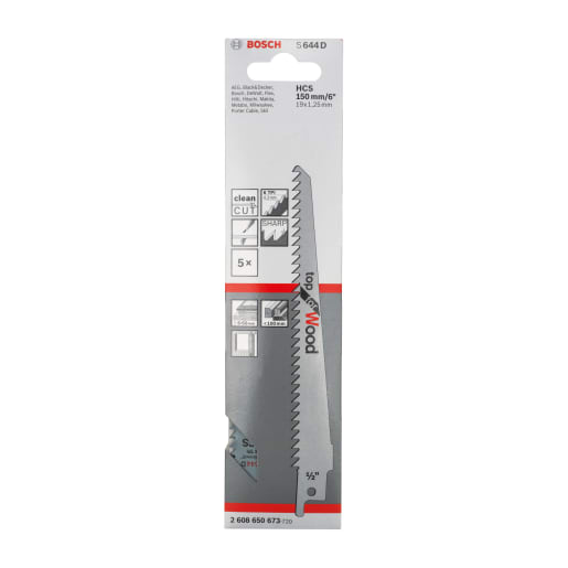 Bosch Sabre Saw Blade High Carbon Steel Top For Wood 150mm Steel