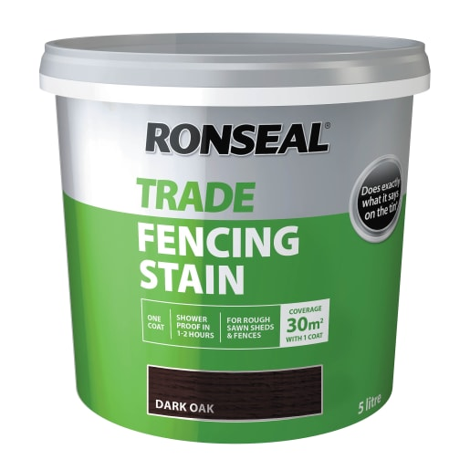 Ronseal Trade Fencing Stain Dark Oak 5 Litre