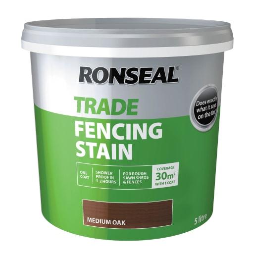 Ronseal Trade Fencing Stain Medium Oak 5 Litre