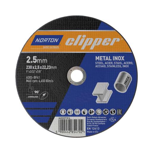 Norton Clipper Flat Metal Cutting Disc 230 x 2.5 x 22.23mm