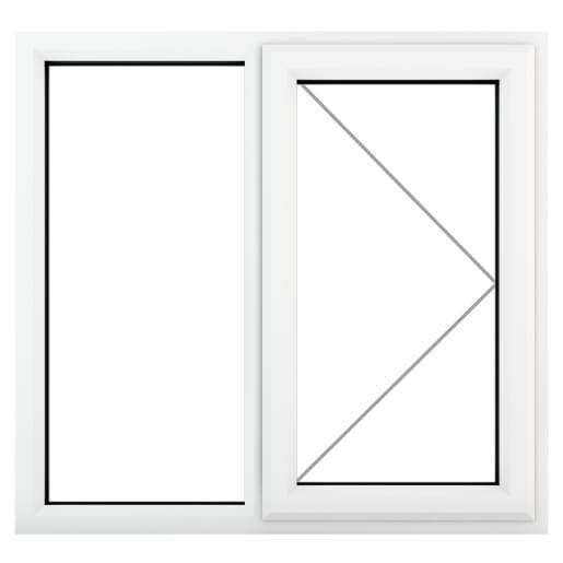 PVC-U RH Side Hung Window 1190 x 1190 mm White