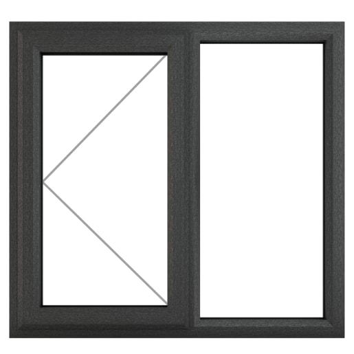 PVC-U LH Side Hung Window 1190 x 1115mm Grey/White