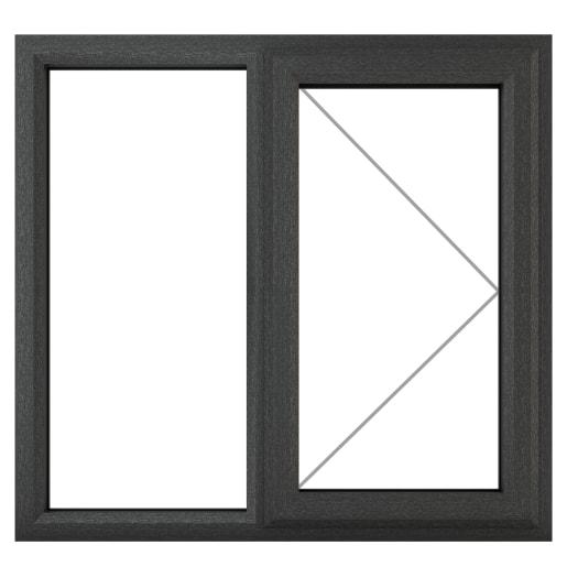 PVC-U RH Side Hung Window 1190 x 1115mm Grey/White