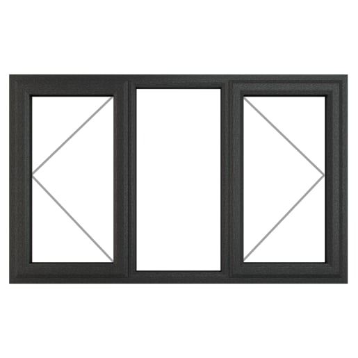 PVC-U L&RH Side Hung Window 1770 x 1115 mm Grey/White