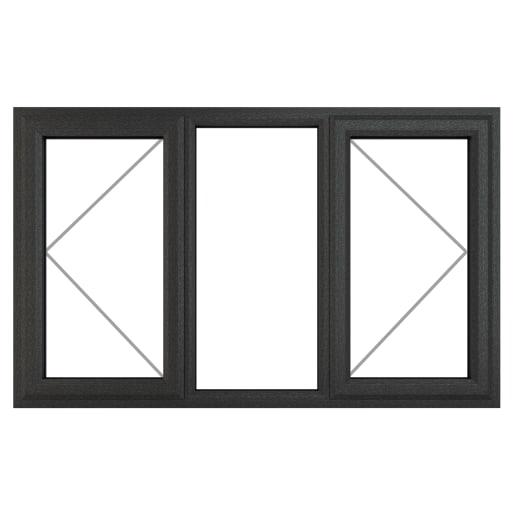PVC-U L&RH Side Hung Window 1770 x 965mm Grey/White