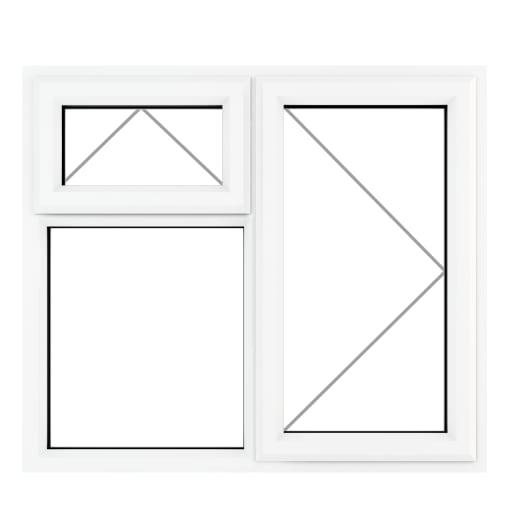 PVC-U RH Side Hung Top Opener Window 1190 x 965 mm Grey/White