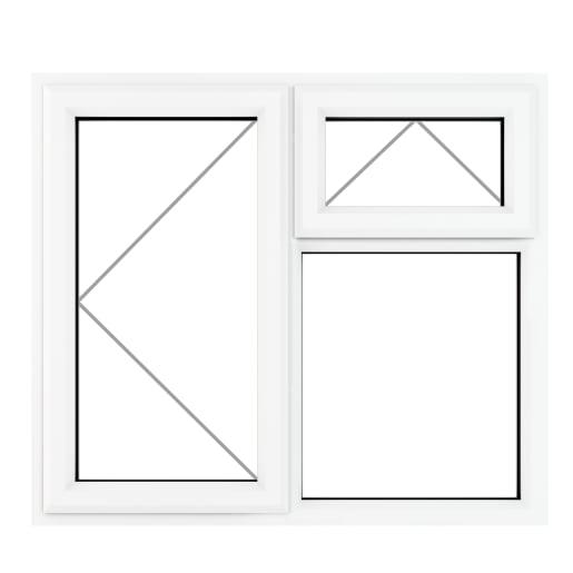 PVC-U LH Side Hung Top Opener Window 905 x 965 mm Grey/White