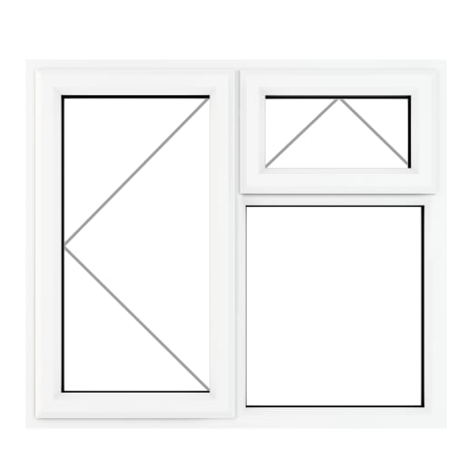 PVC-U LH Side Hung Top Opener Window 1190 x 1040 mm Grey/White