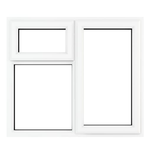 PVC-U RH Side Hung Top Opener Window 1190 x 1190 mm Grey/White