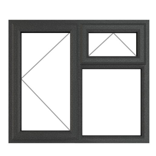 PVC-U LH Side Hung Top Opener 1190x1115mm Grey/White