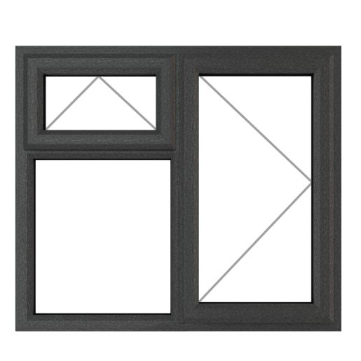 PVC-U RH Side Hung Top Opener 1190x1190mm Grey/White