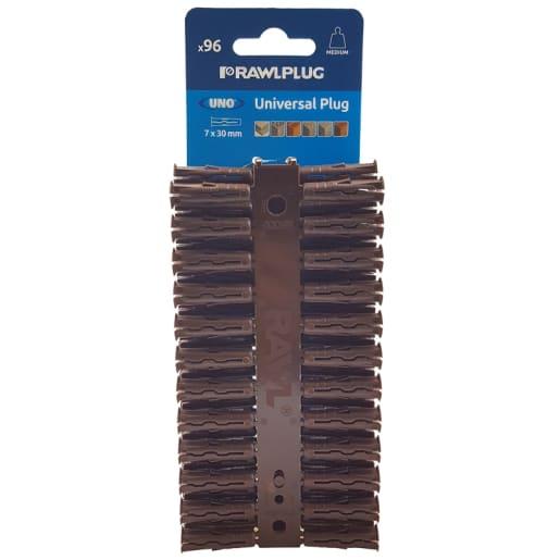 Rawlplug Universal Uno Plug 30 x 7mm Brown Pack of 96