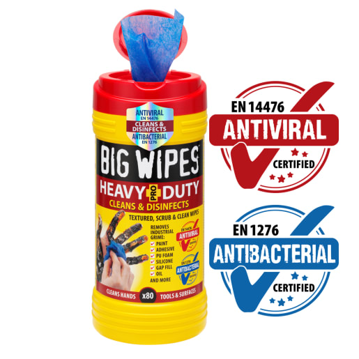 Big Wipes Antiviral Heavy Duty 4x4 Wipes Tub of 80