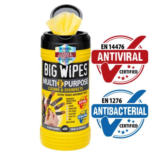 Big Wipes Antiviral Multi Purpose 4x4 Wipes Tub of 80