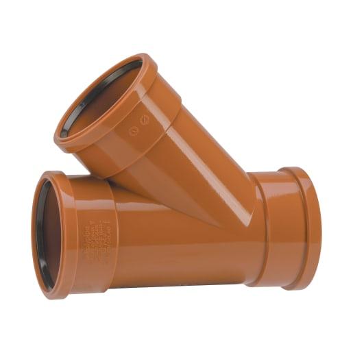 Polypipe Drain 45° Bend Triple Socket Junction 110mm Brown