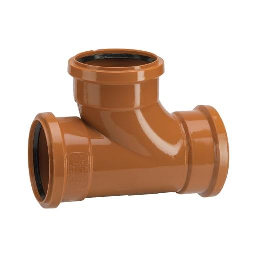 Polypipe Drain 87.5° Triple Socket Equal Junction 110mm Brown
