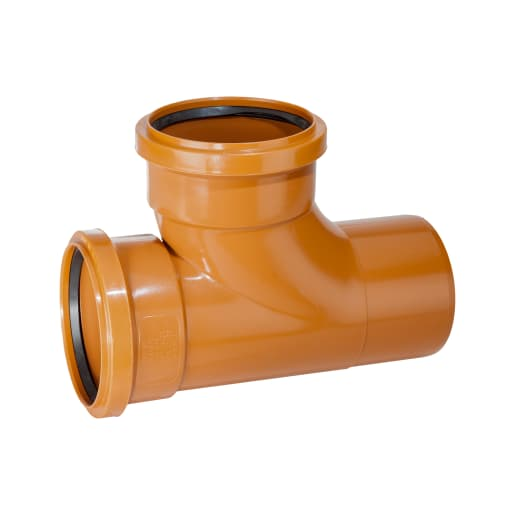 Polypipe Drain 87.5° Double Socket Junction 110mm Brown