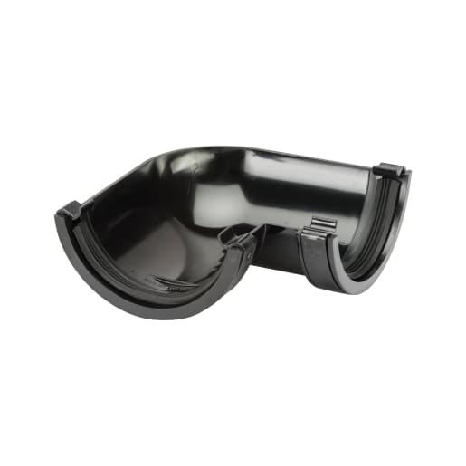 Polypipe 90° Half Round Gutter 112mm Black