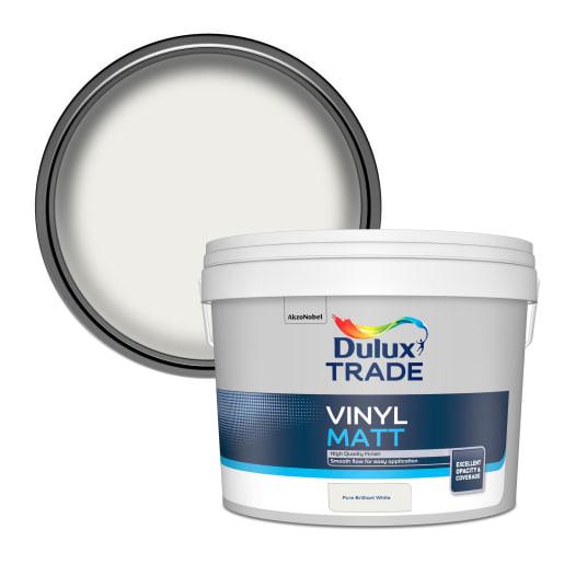 Dulux Trade Vinyl Matt Paint 10L Pure Brilliant White