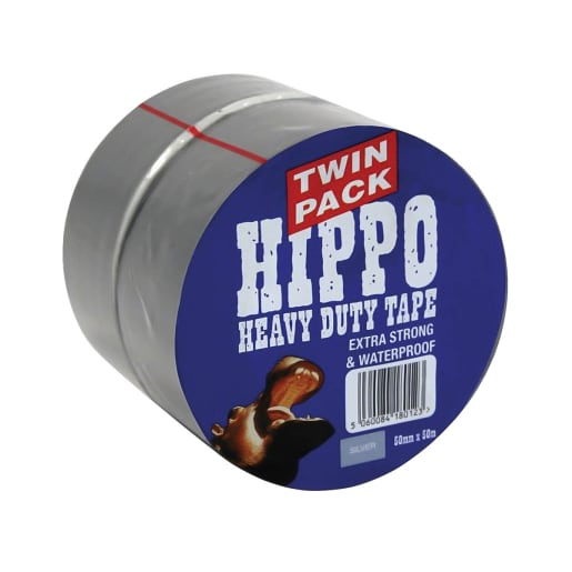 Hippo Heavy Duty Tape 50m x 50mm Silver Pack of 2