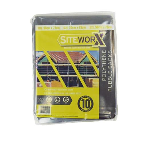 Siteworx Rubble Sack 75 x 50cm Pack of 10 Black